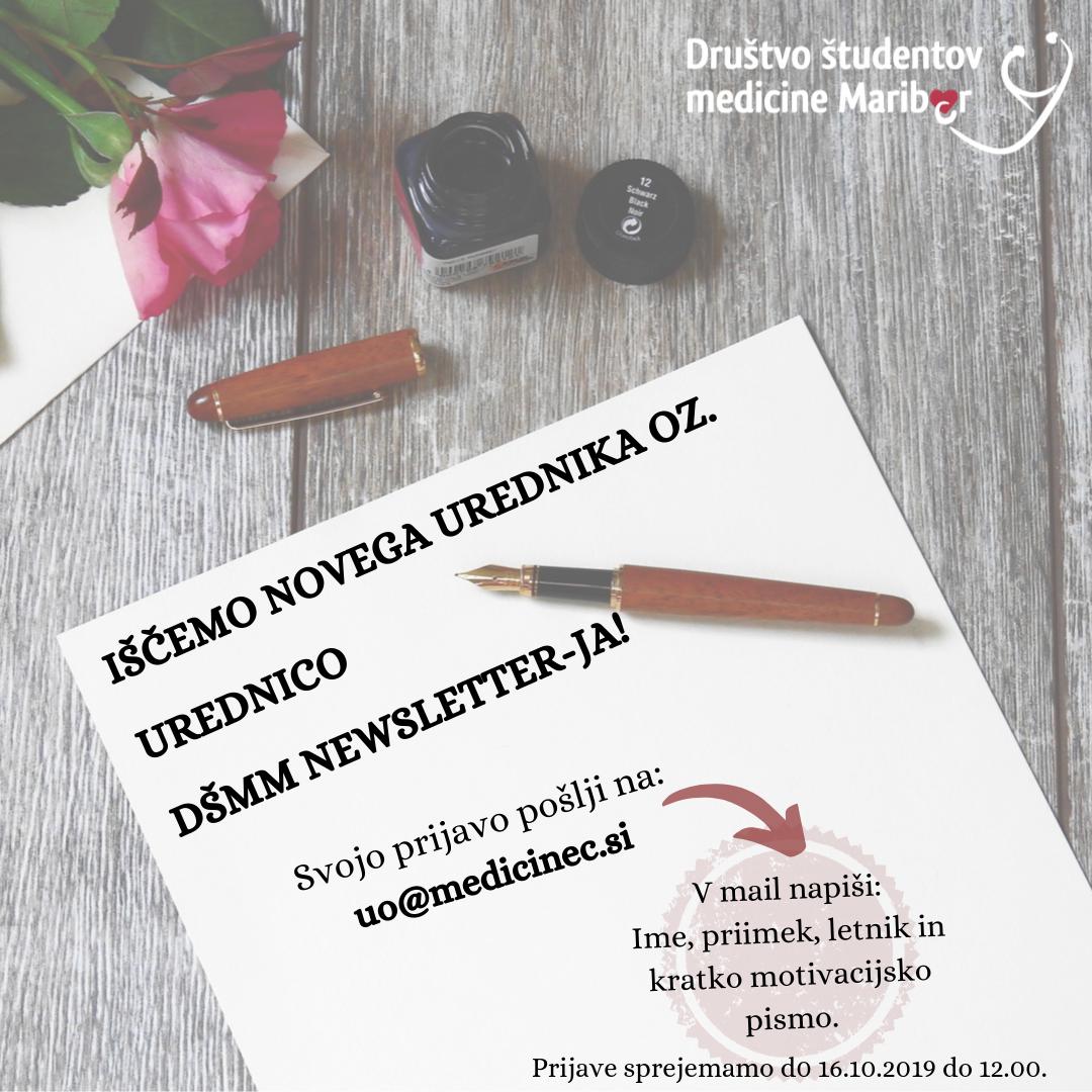 Klic za novega urednika  oz. urednico DŠMM newsletter-ja :)